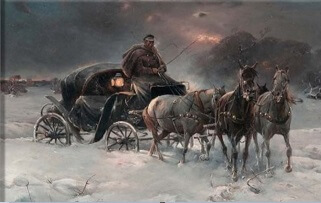 kış karda at arabası